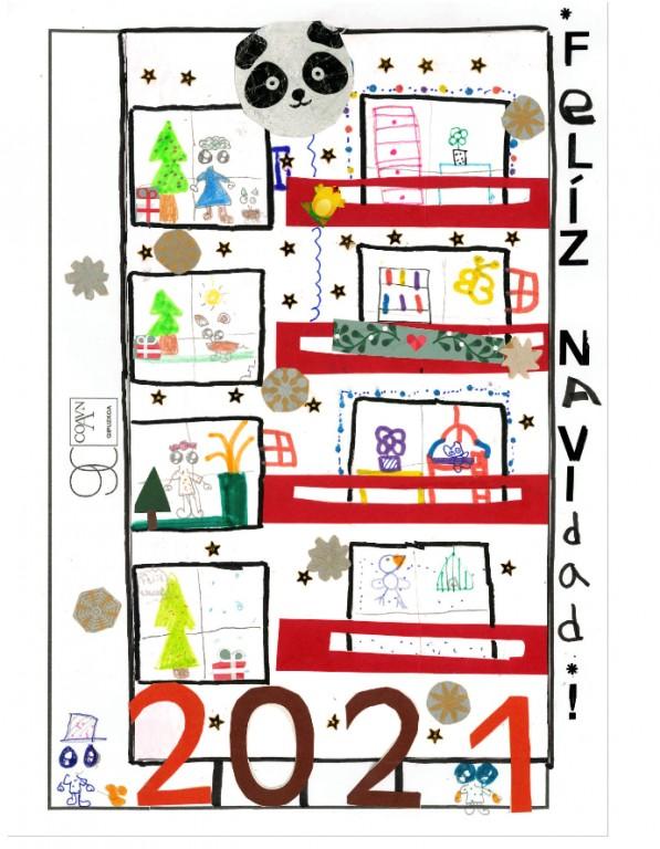 Mi edificio en Navidad. Abril Meana Vicente. 8 años